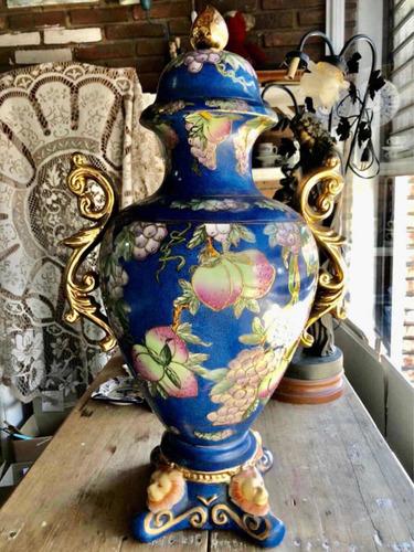 Imagen 1 de 10 de Antiguo Jarrón Ánfora De Porcelana 64 Cm