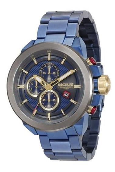 Relógio Seculus Masculino Aço Azul 13020gpsvqa1