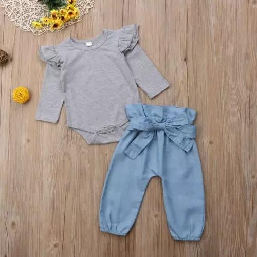 Conjunto Infantil Body Manga Longa E Calça Jeans Clochard