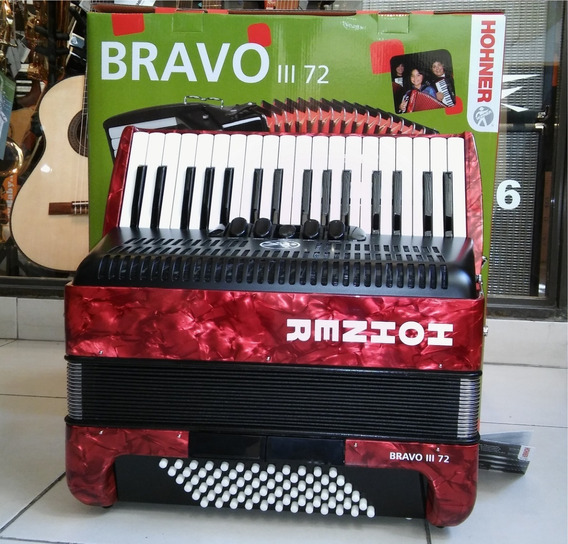 Acordeon Hohner Bravo Iii 72 Bajos 5 Voces 34 Teclas 5+2reg