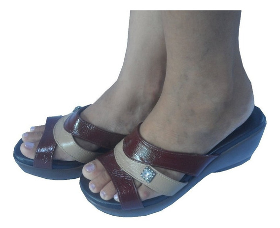 Sandalias Femininas Anabela Magnética Couro 12x S/ Juros