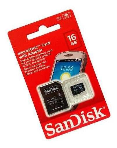 Cartão De Memória Sandisk Microsdhc Card With Adapter 16gb