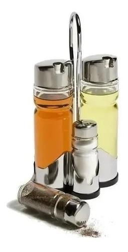 Imagen 1 de 4 de Set X4 Salero Pimentero Aceitero Vinagrero Base Acero Inox.