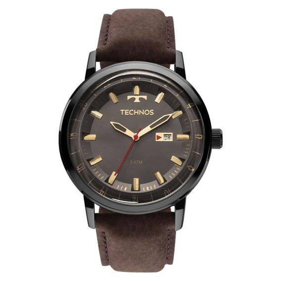 Relógio Technos Masculino 2115laq/2c Couro Marrom Original