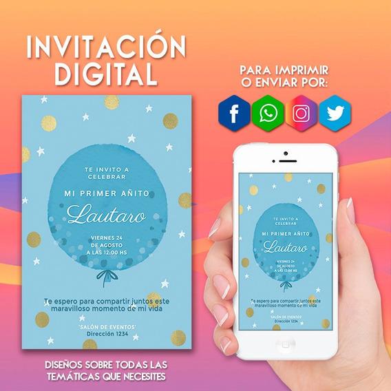 Tarjetas Invitacion Mi Primer Anito Souvenirs Cotillón Y