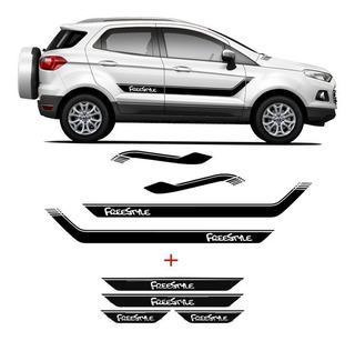 Kit Faixa Lateral Ecosport Freestyle + Soleira C/ Black Over