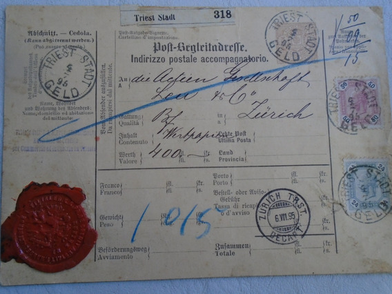Estampillas. Austria. Antigua Cédula Postal.1895.trieste.
