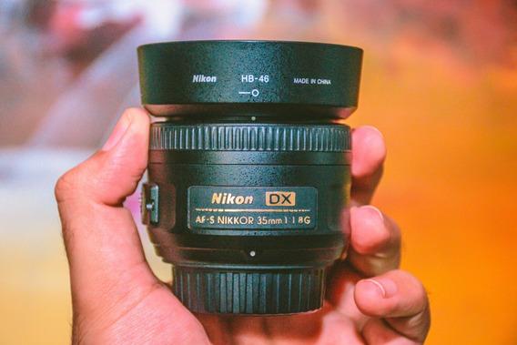 Lente Nikon 35mm F/1.8g Af-s Dx Autofoco + Parasol + Case