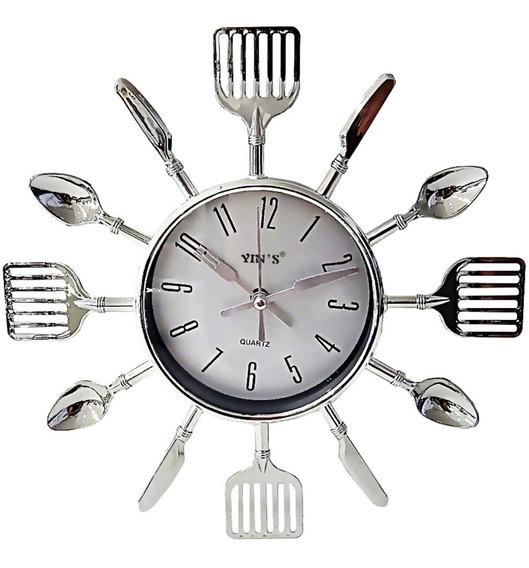 Relógio De Parede Cozinha Chef Talheres Prata Cinza 25,5 Cm
