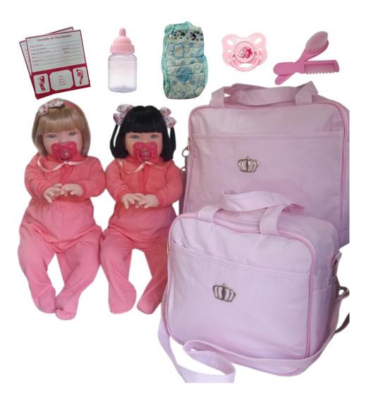 2 Bebê Reborn Loira + Morena + Acessórios+ Bolsa Maternidade