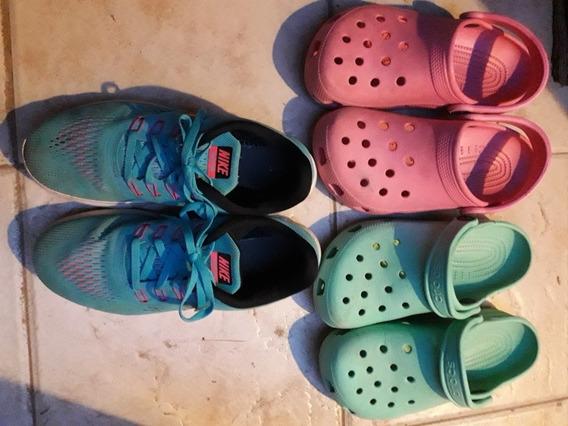 Set 1 Par De Zapatillas Nike Y 2 Crocs Talle 36