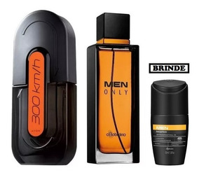 Perfume 300 Km/h Avon + Men Only Boticário + Brinde
