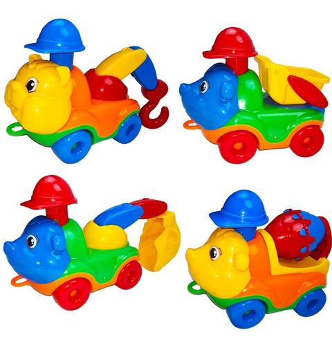 Kit Com 04 Caminhões Infantis Coloridos - Divertoys