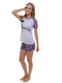 39bc14b512d32e Pijama Xadrez Feminino Adulto Calção Verão Curto Barato Leve