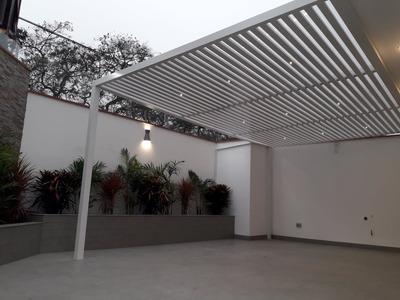 Techos De Aluminio Y Policarbonato Madera Blanco Corredizo