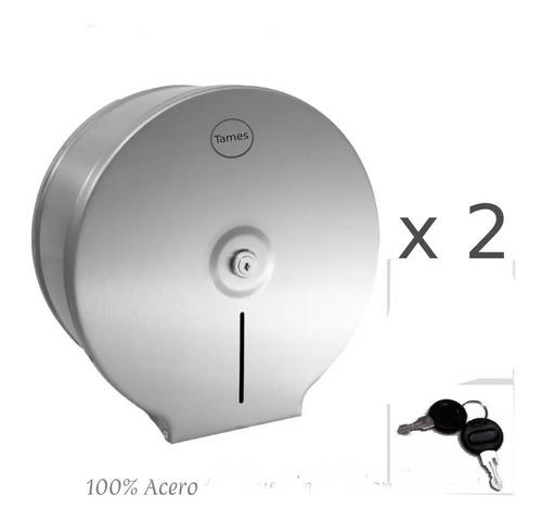 Kit X 2 Unidades Dispensador Papel Higiénico Acero Inoxidabl