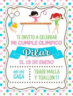 Tarjeta Digital, Invitación Cumpleaños Gimnasia Nenas