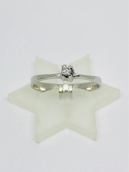 Glitter Joias - Anel Solitário Ouro E Diamante De 8 Pontos!