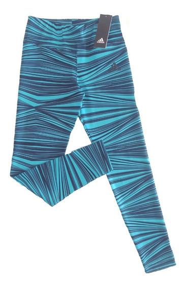 adidas Calza Rayas Azul/celeste Talle 11-12 Años (xs Mujer)