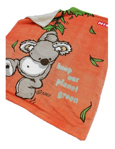 Imagen 1 de 5 de Cobertor Con Borrega Nici Para Bebé 1.00x1.30 Modelo Koala