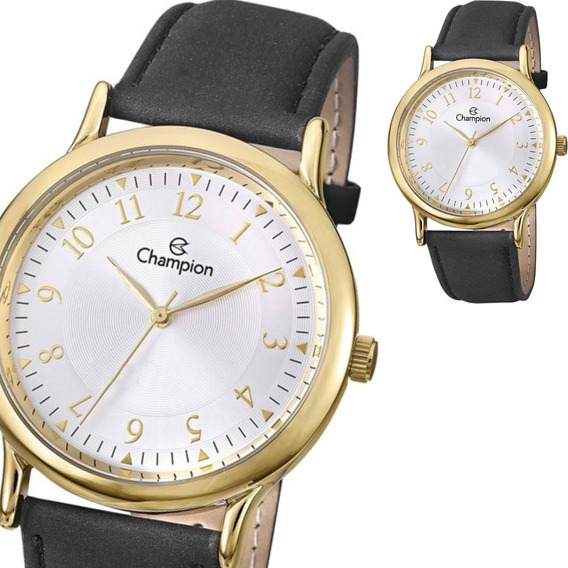 Relógio Champion Masculino Grande Dourado Couro Ch22813b