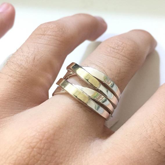 Anel Feminino Com Filete De Ouro E Prata De Lei 925 A1304