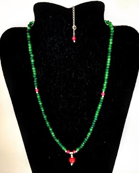 Choker Pedra Natural Jade Esmeralda, Rubi Det Folheado Prata