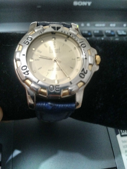 Lindo Relógio Dumont Dourado - Com Pulseira De Couro Azul