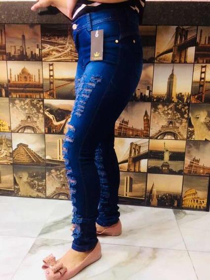 Calça De Jeans Feminino Rasgado Moda