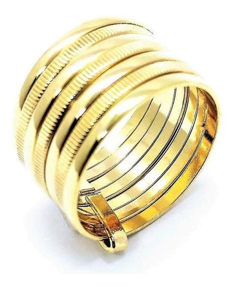 Anel Aliança Prata Em Banho De Ouro 18k 7 Aros 464