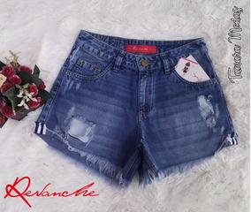 Shorts Jeans Curto Revanche Detalhe De Listra Sem Lycra 40