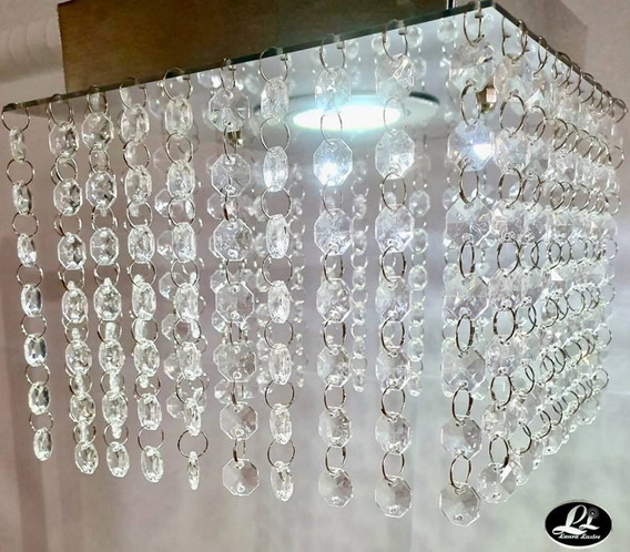 Lustre Plafon Cristal Acrílico Base Espelhada C/iluminação