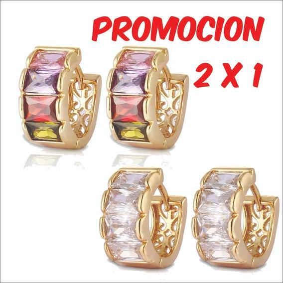 Arracadas De Oro Laminado De 18 K Y Zirconias Aaa 2x1