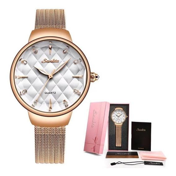 Relógio Feminino Sunkta Dourado Fashion 6630 Luxo + Brinde
