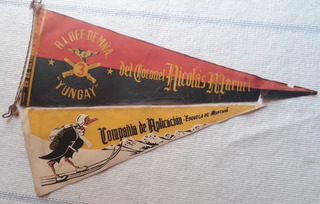 2 Antiguos Banderines Del Ejercito/escuela De Montaña/dec.50