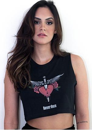 5 Uni. Cropped Bon Jovi Feminino Preto Estilo Rock - Atacado
