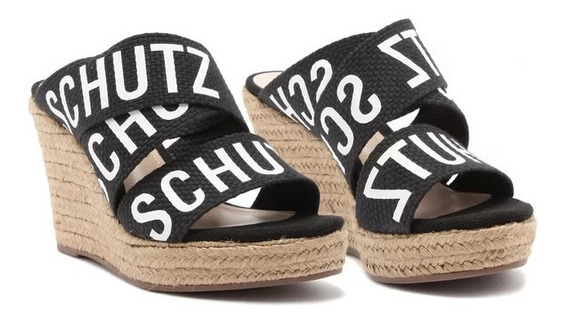 Tamanco Schutz Natural Logo Black