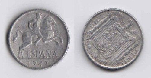 España 1941 Moneda De 10 Centimos De Aluminio