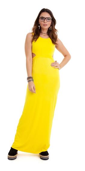 Vestido Longo Com Vazado Na Cintura Amarelo