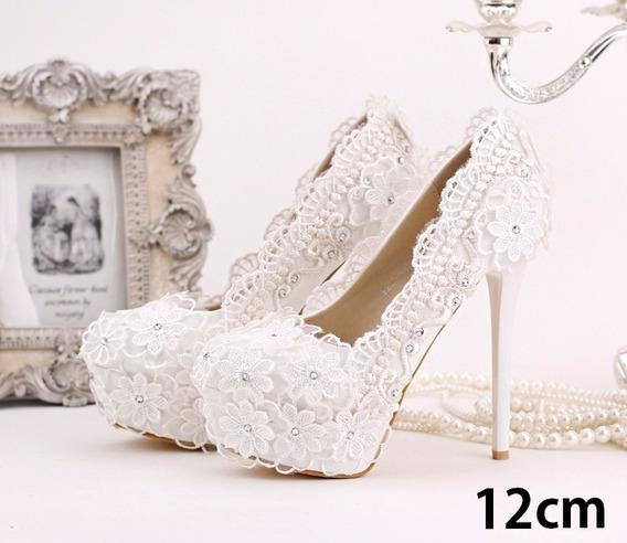 Sapato Branco Com Renda Strass De Luxo Para Casamento Noiva