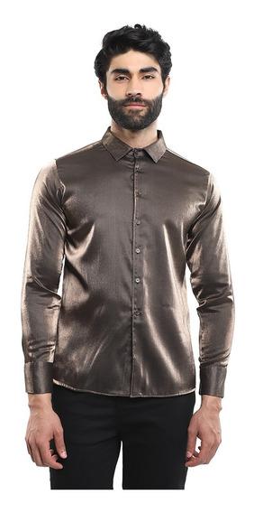 Camisa Hombre Manga Larga Satinada Color Negro Lob