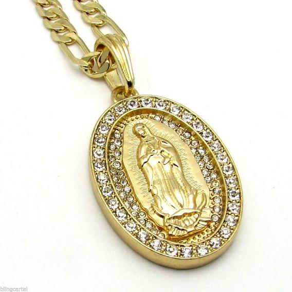 Virgen De Guadalupe Y Cadena Estilo Figaro Laminada Oro 14k