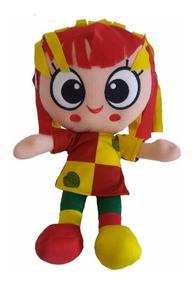 Boneca Emília De Pelúcia 38cm Colorida Em Pé Antialérgica