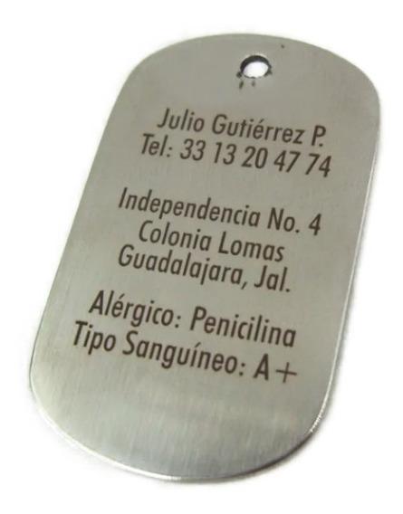 Placa Médica Padecimiento Tipo Militar Con Grabado Láser, Cadena De Bolitas De Regalo