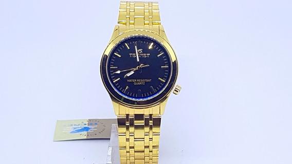 Relógio Masculino Dourado Esportivo Preto Original Tecnet