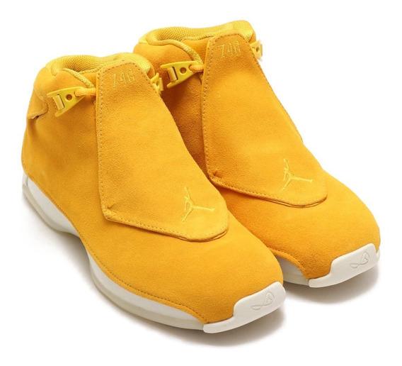 Tenis Jordan 18 Orange Yellow Suede Caballero 2018