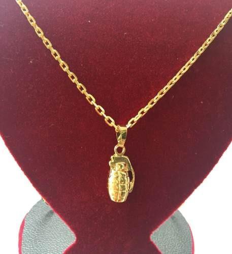 Cordão Cadeado Banhado A Ouro 18k 70cm 3mm + Ping Granada