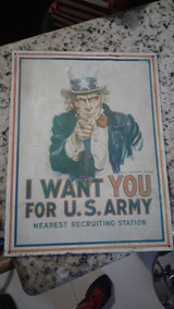 Placa De Lata I Want You For U.s. Army 31 X 41 Cm