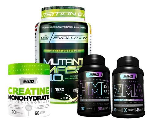 Combo Rugby Mutant Mass +hmb + Zma+ Creatina Star Nutrition