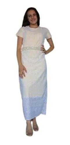 Vestido Evangelico Midi Feminino Renda Forro Evangelica Moda